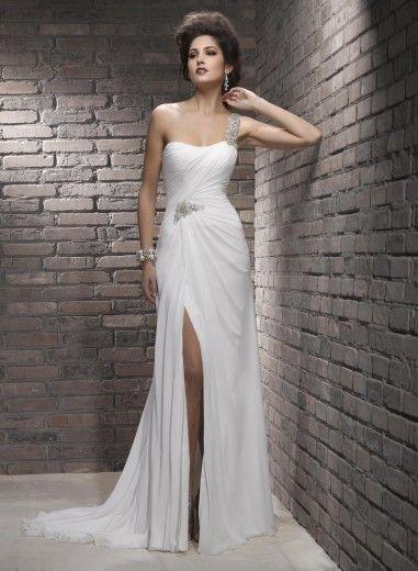 Fashion Column Front Slit One-shoulder Chiffon Wedding Dress WD-3022