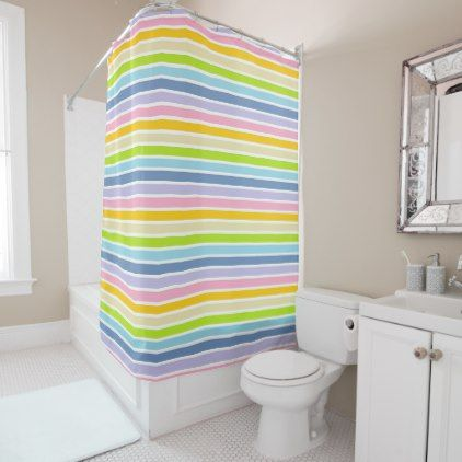 White Outlined Pastel Rainbow Stripes Shower Curtain
