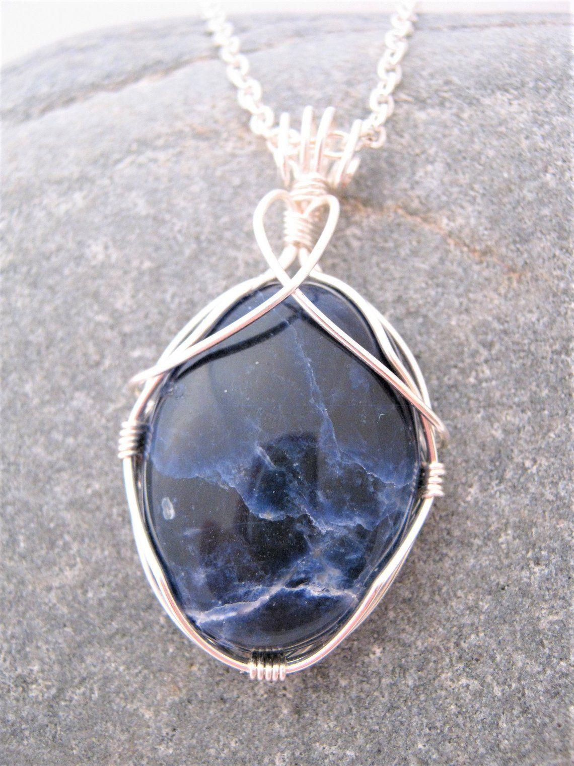 58c06f0de Sodalite Wire Wrapped Cabochon Blue Gemstone Pendant | Etsy | I ...