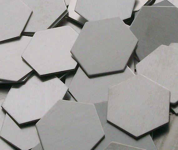 Aluminum Hexagons - 22 ga, stamping blanks, Bopper, metal