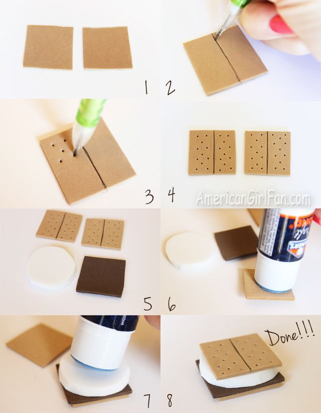 Doll Food Craft: How To Make S'mores! (AmericanGirlFan) #americangirldollcrafts