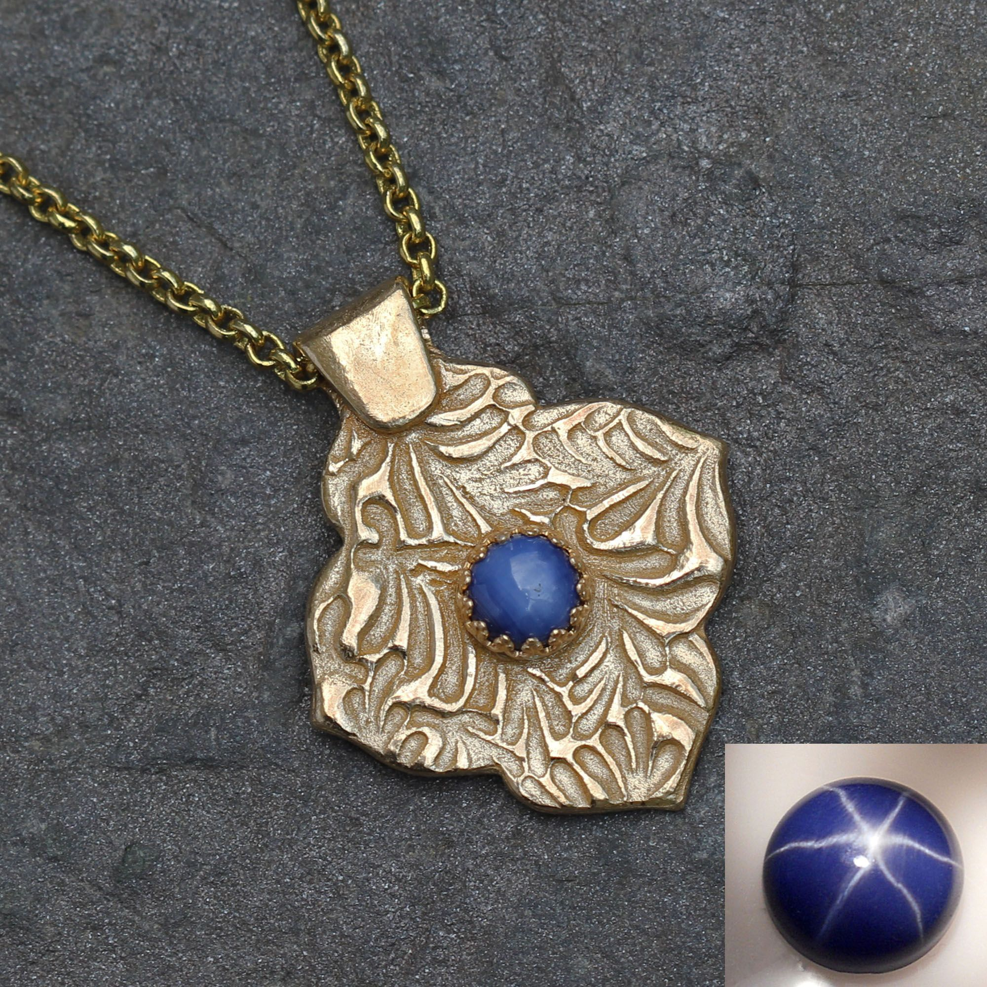 Star sapphire and gold metal clay necklace with mehndi quatrefoil