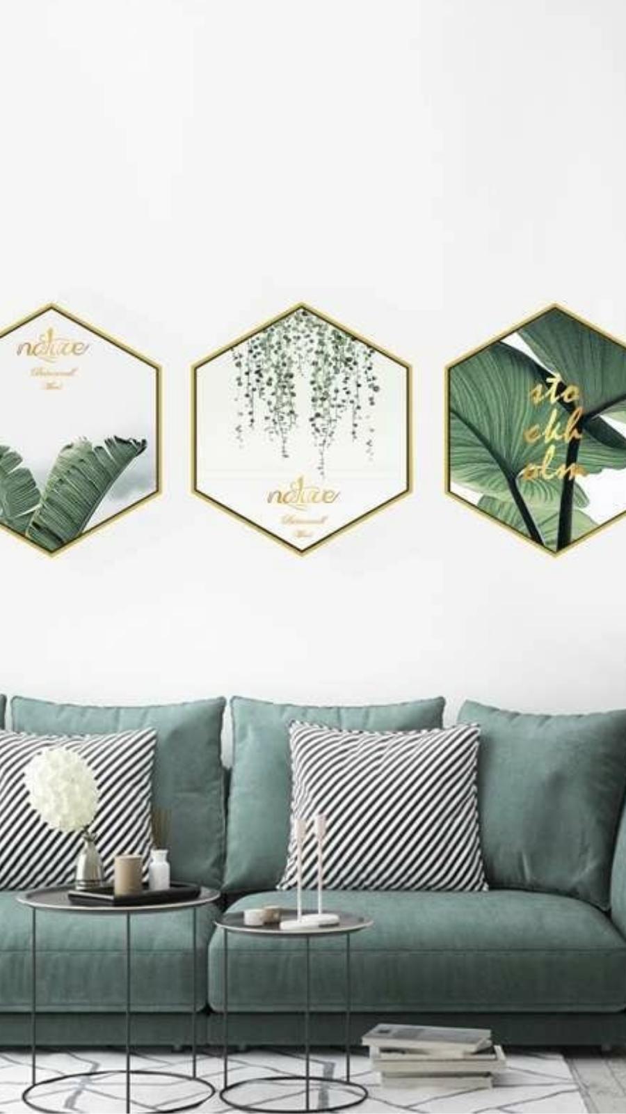 Tropical Print Cloth Green Wall Art 3pcs Without Frame Green Wall Decor Green Home Decor Green Wall Art