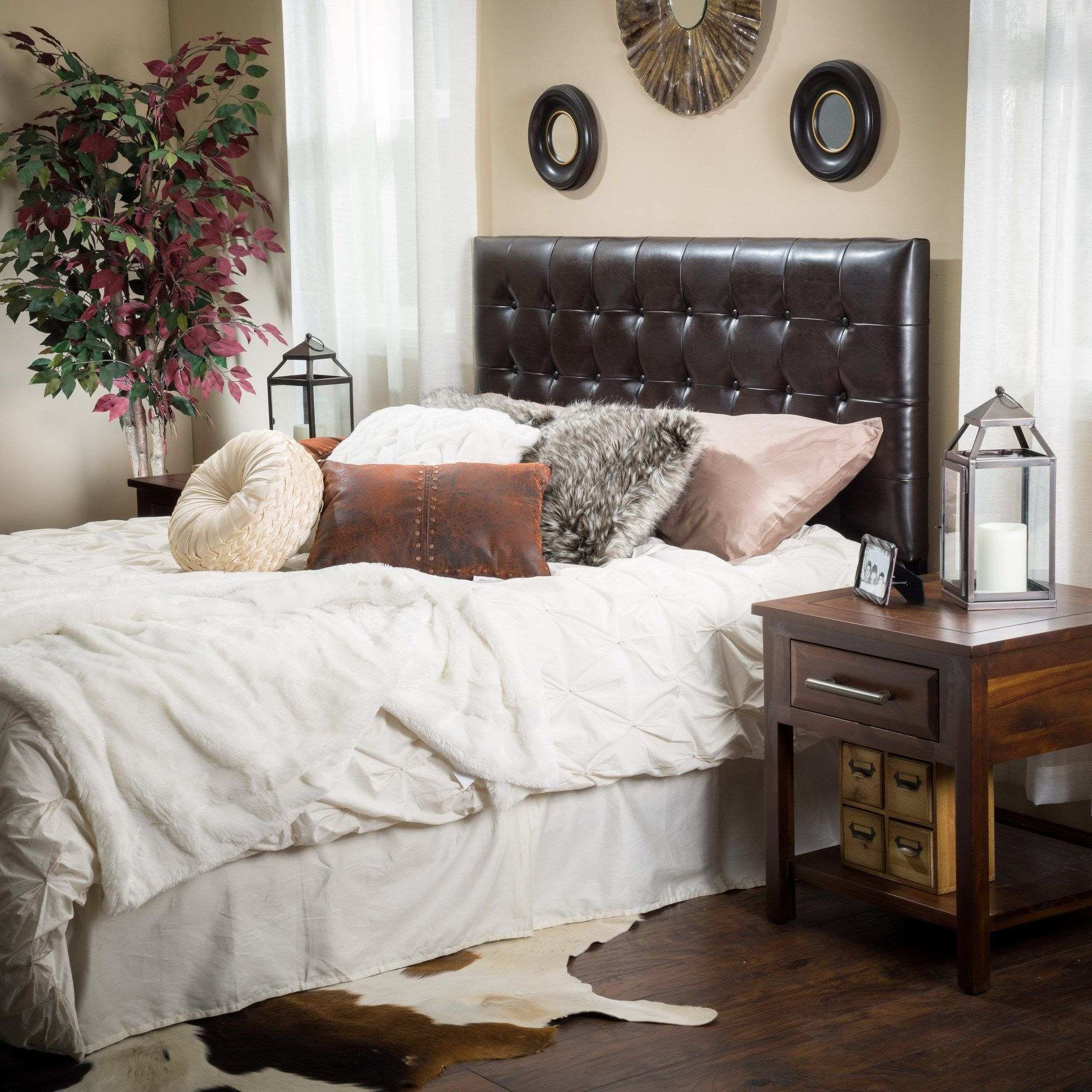 Denise Austin Home Lucca Tufted Bonded Leather King/Cal King ...