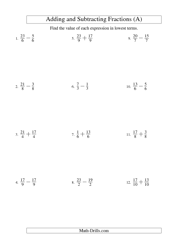 Fractions Worksheet Adding And Subtracting Fractions Like Terms No Mixed F Adding And Subtracting Fractions Fractions Worksheets Subtracting Fractions