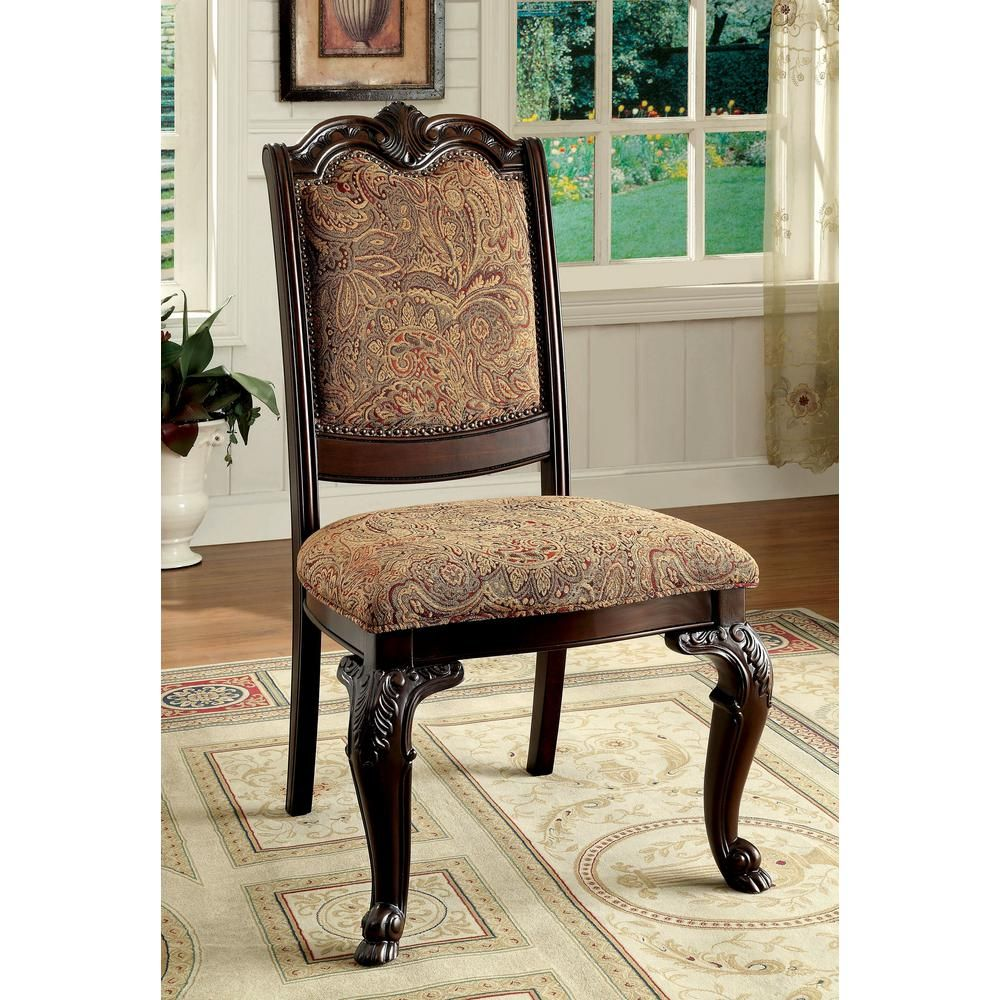 Unbranded Bellagio Brown Cherry Traditional Style Side Chair Cm3319f Sc 2pk The Home Depot Side Chairs Dining Side Chairs Upholstered Side Chair
