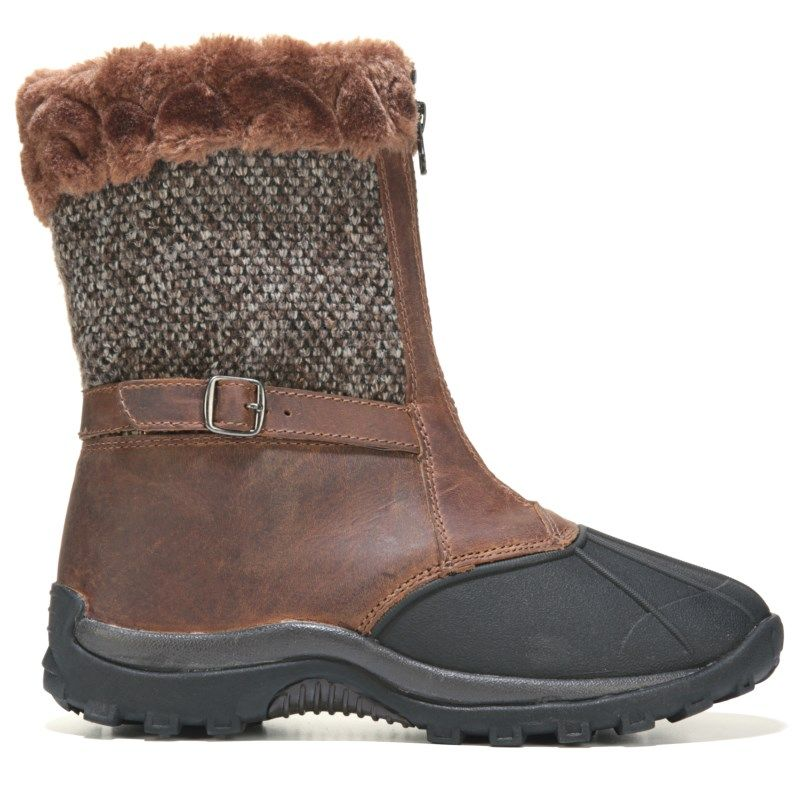 Propet Womens Blizzard Mid Zip MediumWideXWide Winter Boots BrownKnit Leather