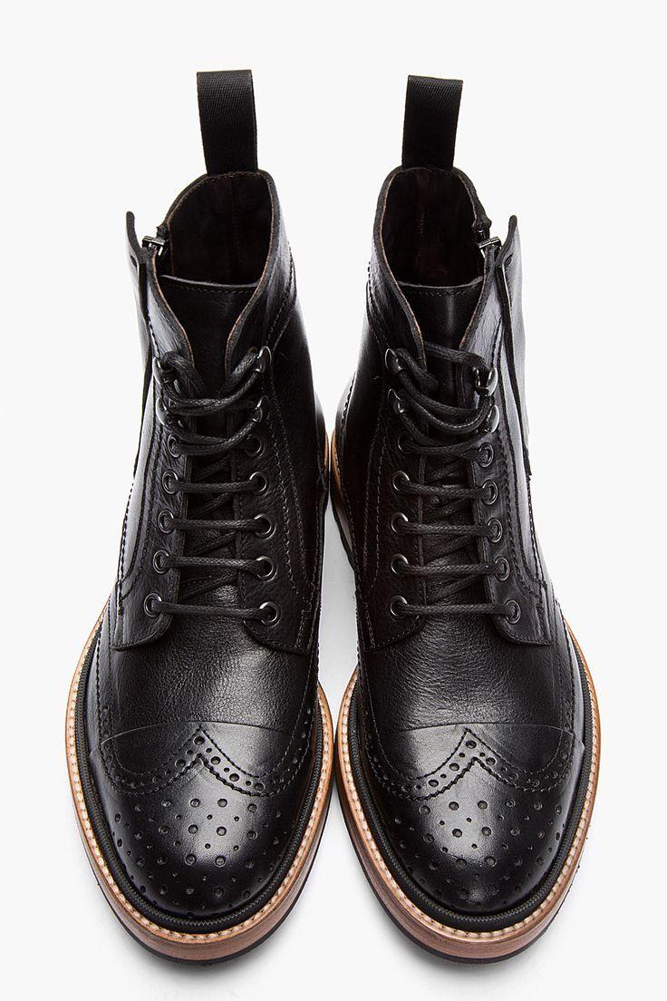 mens black leather brogue shoes