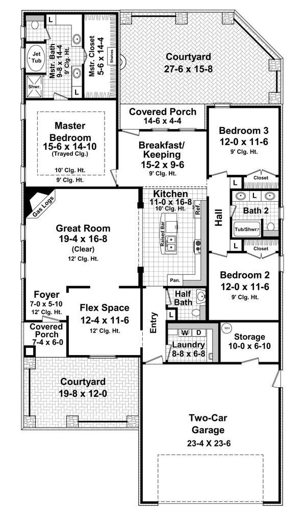 1st Level Floorplan image of The Cambridge Lane | Homes I ... on adobe house 2500 square foot, narrow lot house plans, 3 2 house plans 2000 sq foot,
