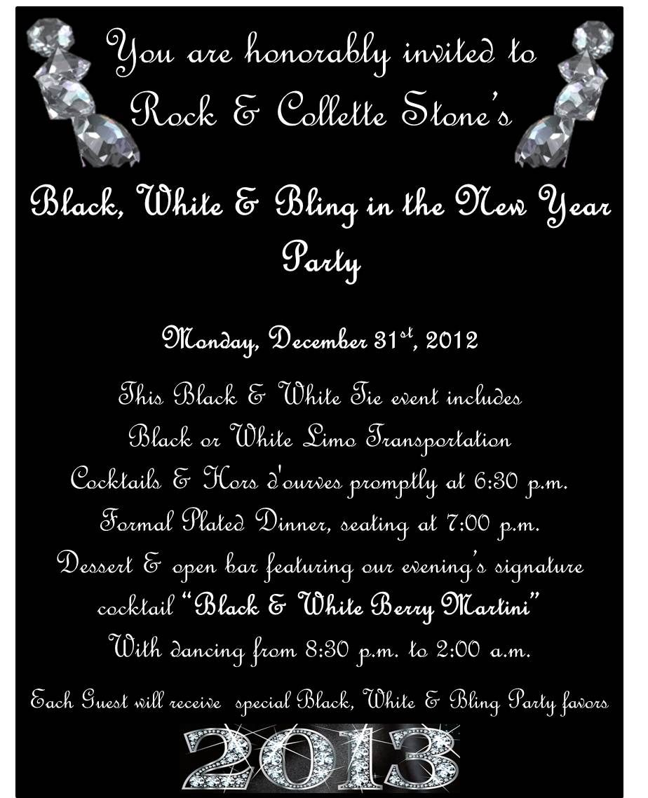 black and white party invitations to our black white bling in the new year party whbm feelbeautiful