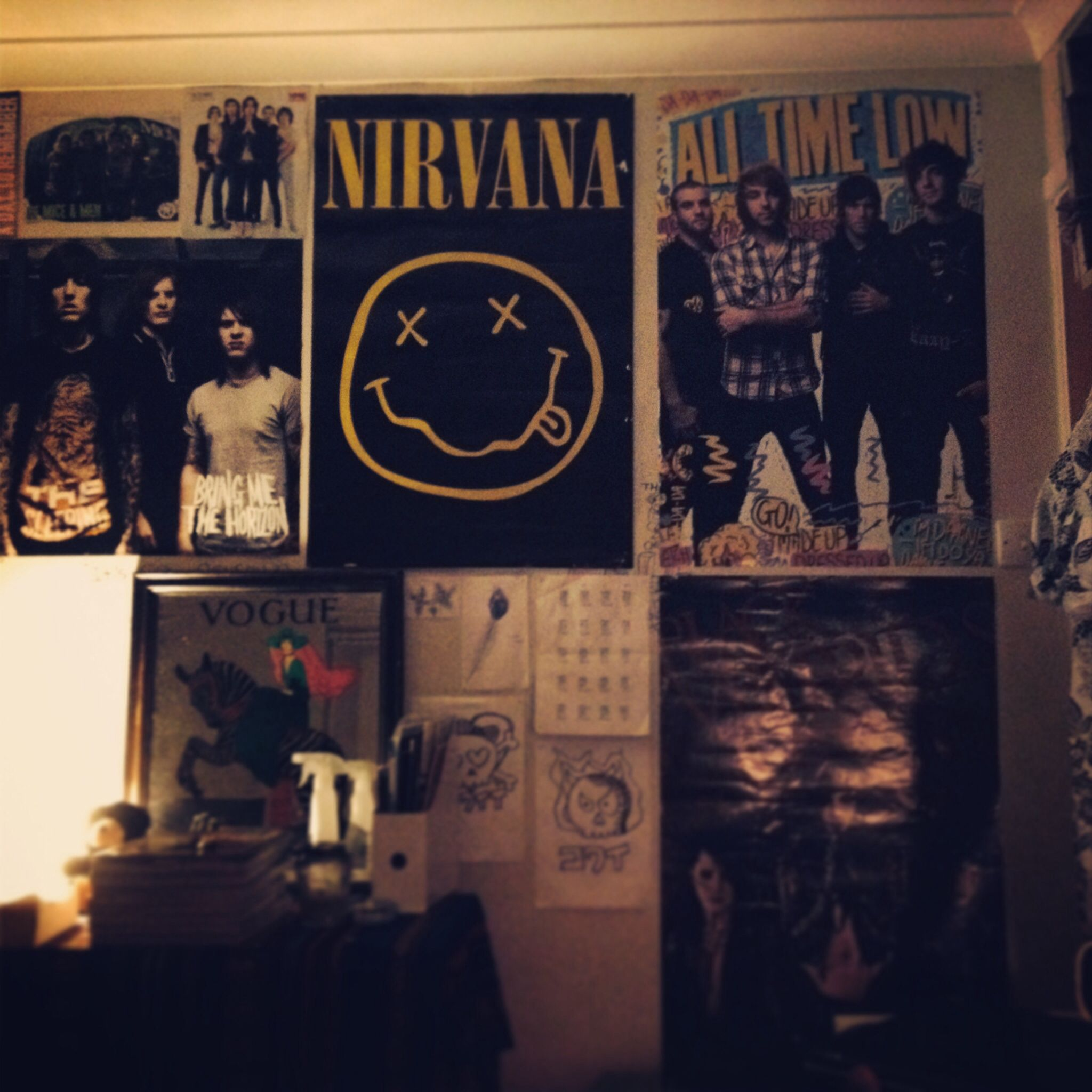 Bedroom wall with posters - My Indie Bedroom Includes Nirvana Bmth And All Time Low Posters A