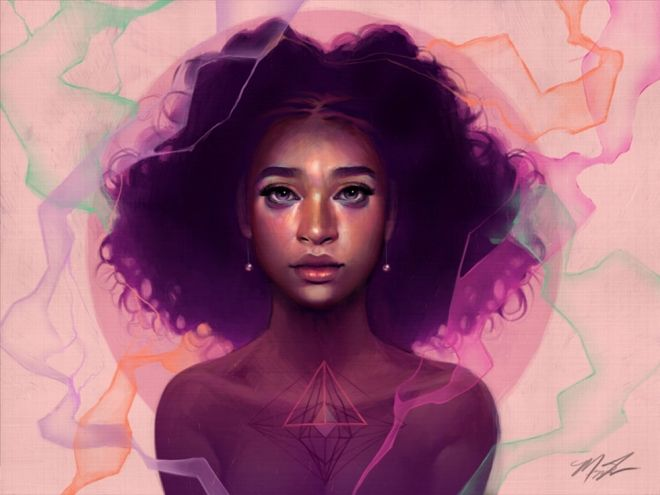 Black girl drawing megan
