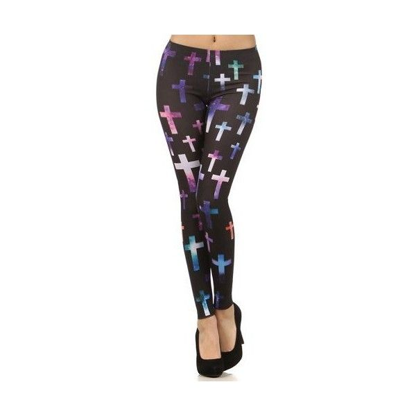 iHeartRaves Cross Galaxy Leggings ($22) ❤ liked on Polyvore