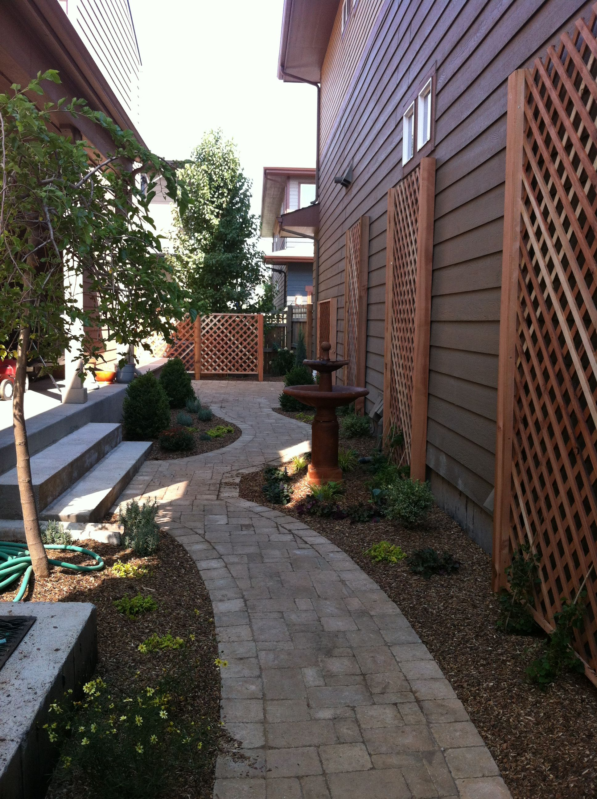 narrow side yard pathway