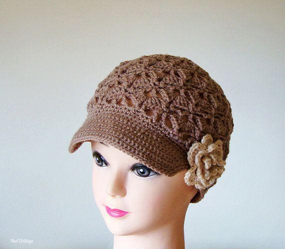 Brown Crochet Womens Hats, Handmade Teen Hat, woman Cap , Crochet ...