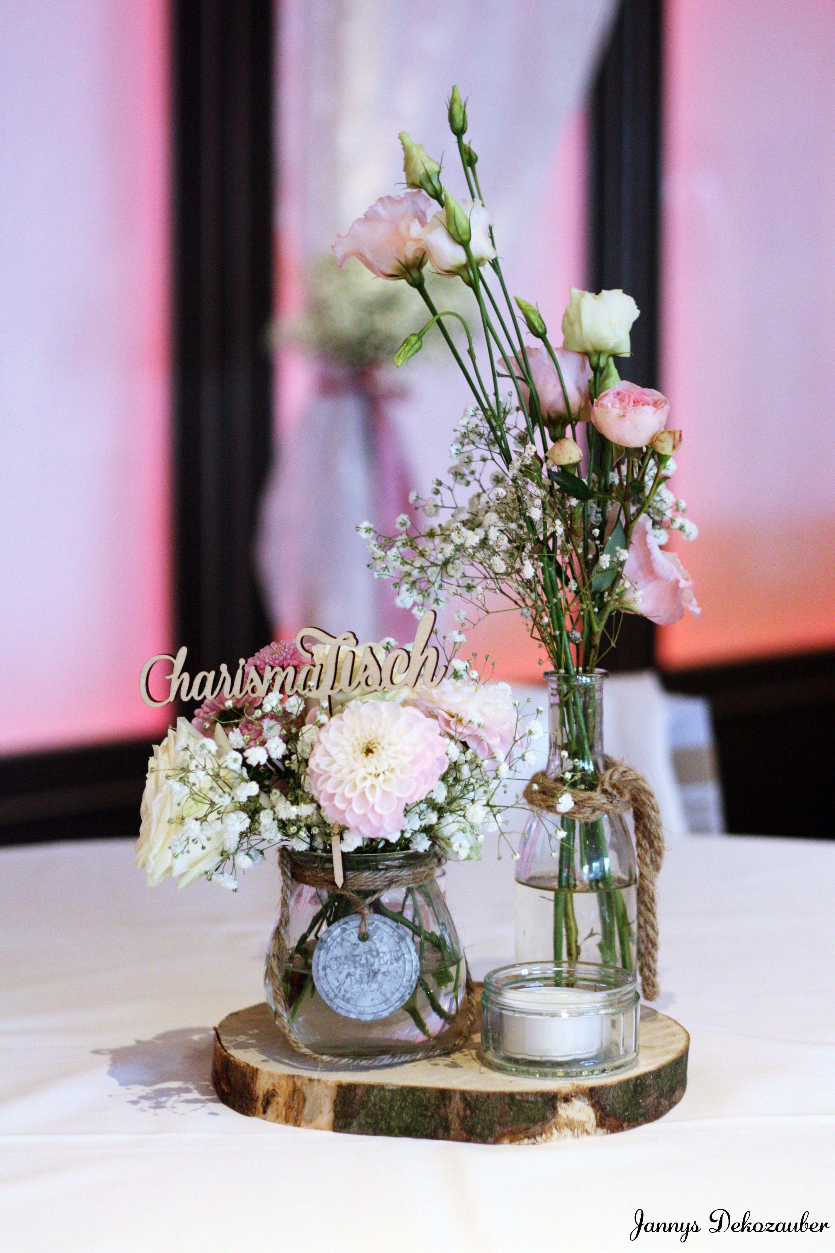Tischdeko hochzeit deko holzscheibe deko blumen rosa Rosa tischdeko hochzeit