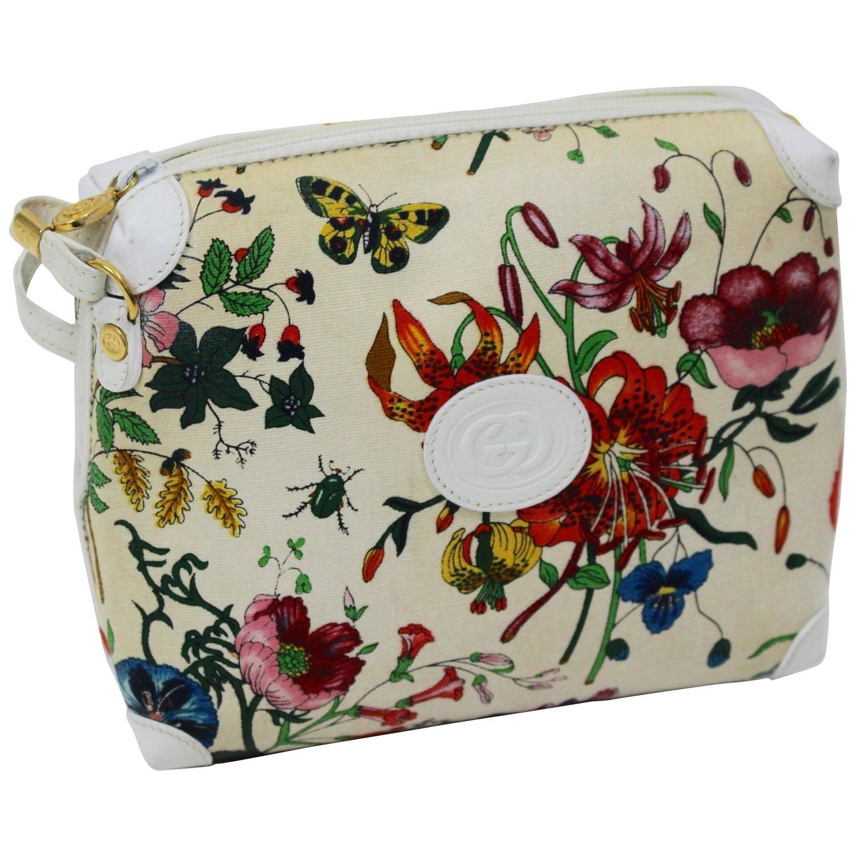 43acd803375b Vintage Gucci Floral Canvas White Leather Cross Body Shoulder Bag Purse 1