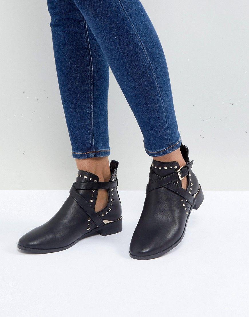 Miss KG Seb Studded Flat Boots | Schwarze stiefel flach ...