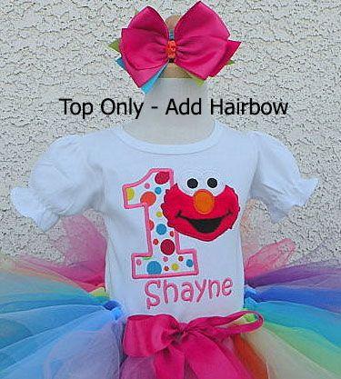 c9f89086 Girls Elmo Rainbow Dot Number Rainbow Quick Ship Onesie Or Shirt ...