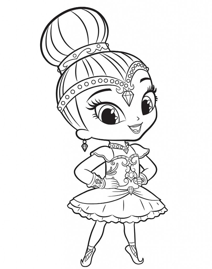 Shimmer And Shine Coloring Pages Printable Ballerina Coloring