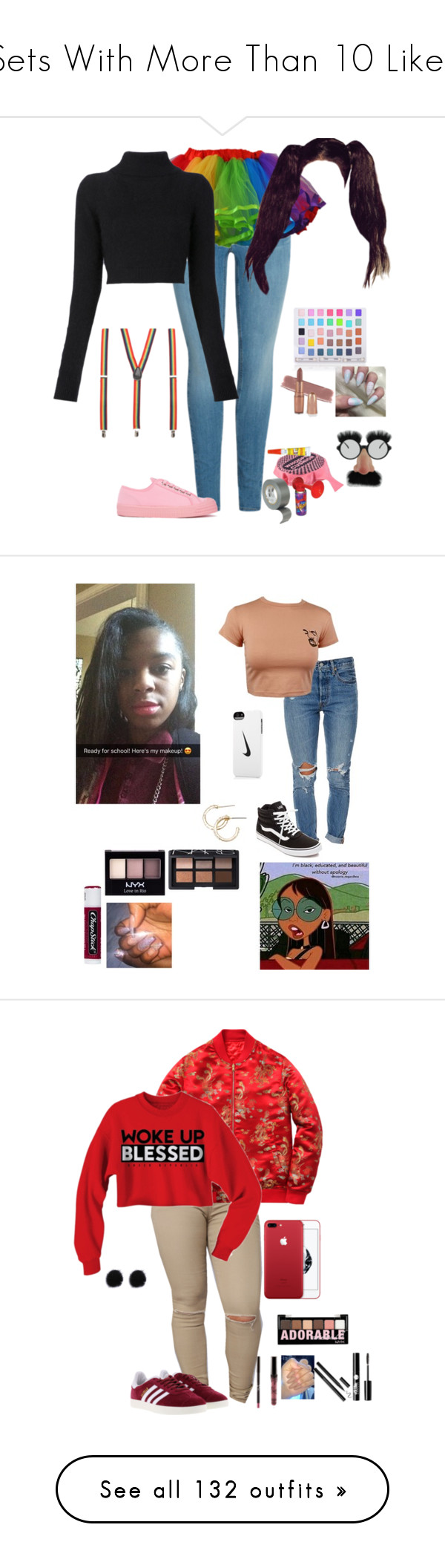 """""""Sets With More Than 10 Likes"""" by nobledynasti ❤ liked on Polyvore featuring Balmain, Novesta, Shany, Levi's, Vans, Chapstick, NYX, NARS Cosmetics, GET LOST and NIKE"""