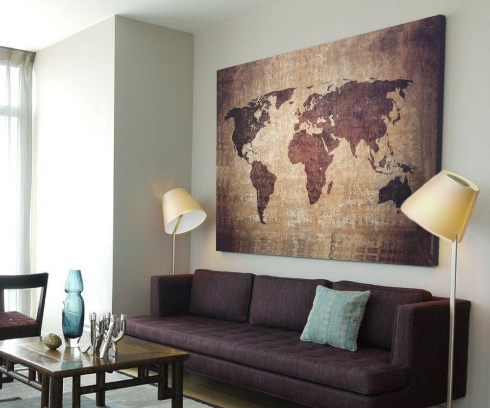 Xxl Bild 145x95x5 Loft Design Leinwand Weltkarte Braun GemÄlde PremiÄr Ikea Bilder Wohnzimmer Wandbilder Wohnzimmer Weltkarte