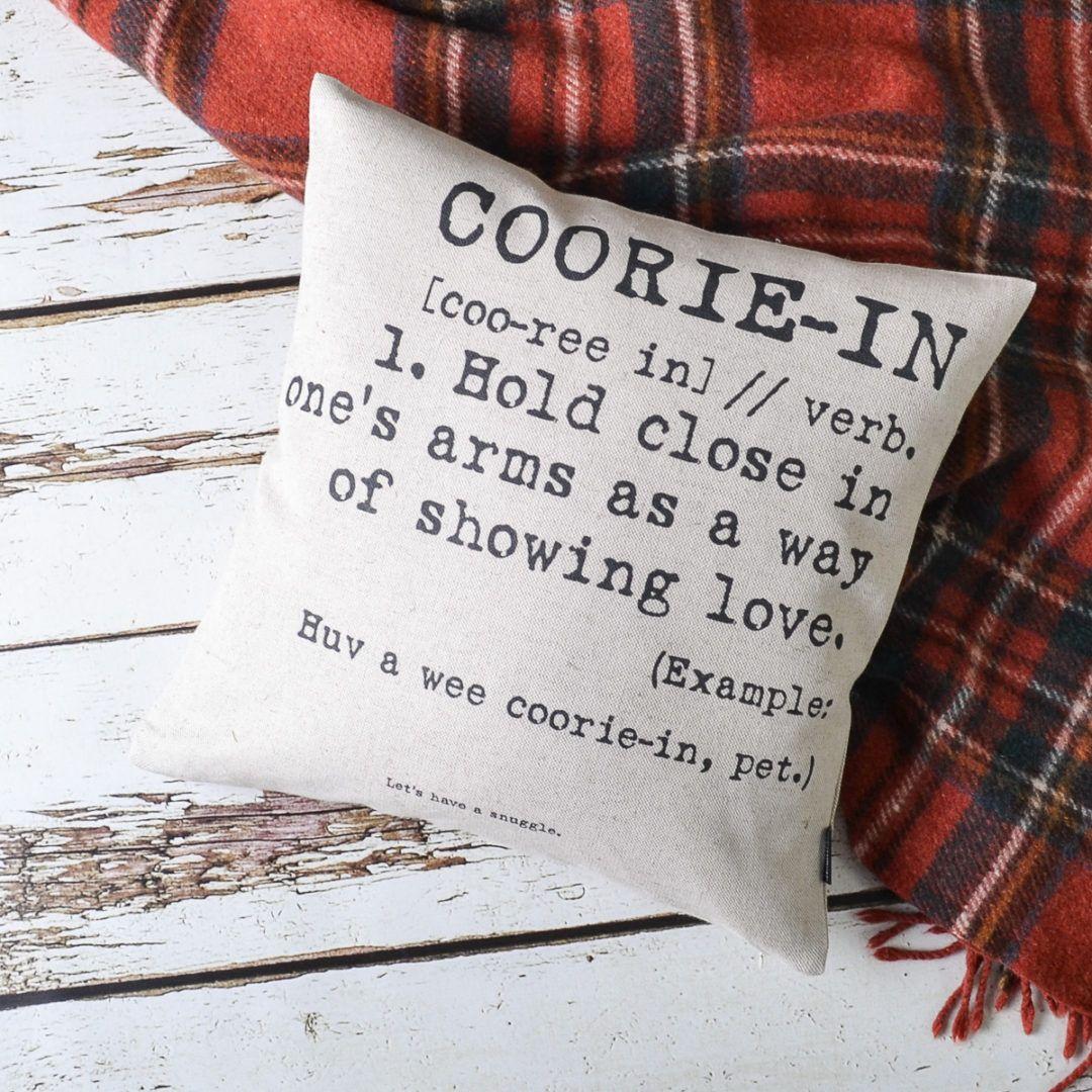 Scottish Words 'cooriein' Cushion Cover Scottish words