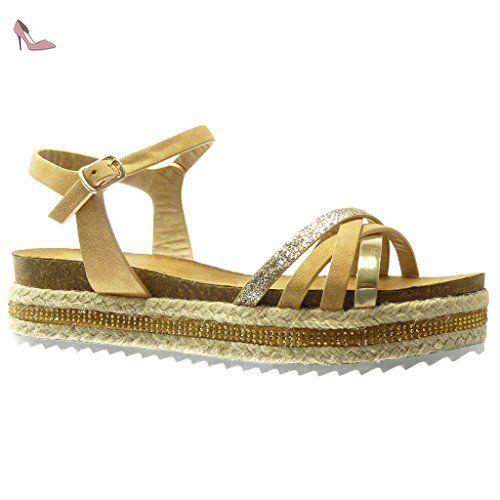 b9362e88807f06 Angkorly - Chaussure Mode Sandale Espadrille plateforme femme pailettes  multi-bride lanière Talon compensé plateforme