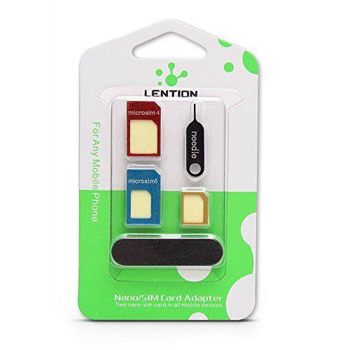 LENTION 5-in-1 Nano SIM Card to Micro/Standard SIM Card