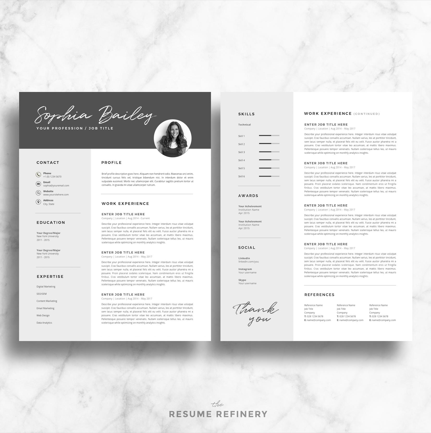 Bonus Letter Template Professional 2 Page Resume  Cover Letter Template For Word  Bonus .
