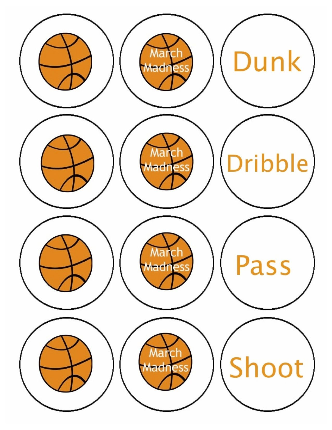 Basketball Circles For Cupcake Toppers March Madness Parties March Madness Decorations March Madness Birthday Party
