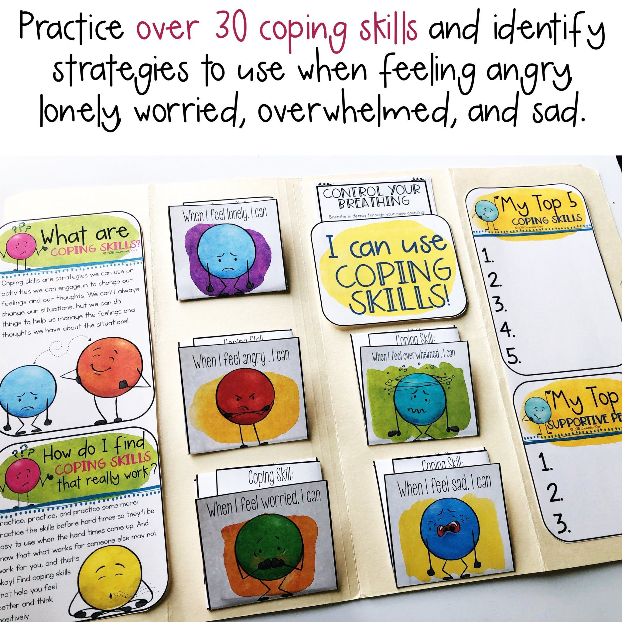 Coping Skills Lap Book With With Calming Strategies Cards For School Counseling Coping Skills Activities Coping Skills Coping Skills List