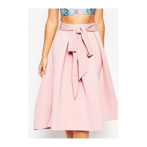 Pink Knee Length Pleated Skirt