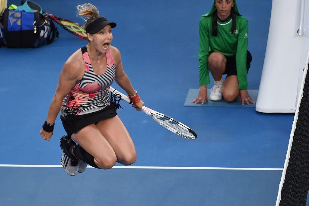 Topshot Bethanie Mattek Sands Of The Us Reacts After Winning The Mattek Sands Australian Open Tennis Andrea Hlavackova