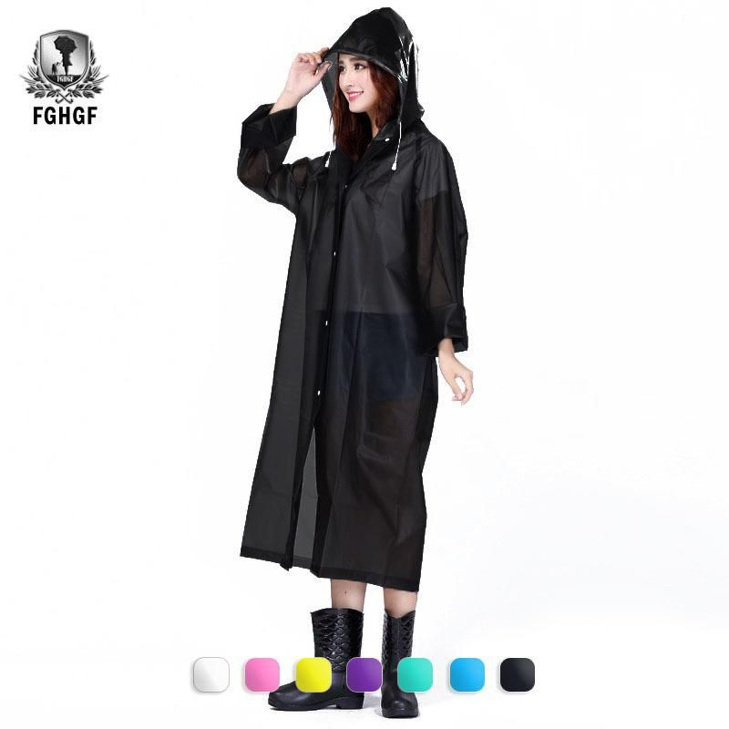 Rain Coat Transparent Women Clear Waterproof Hood Women Men Rainwear Long Sleeve