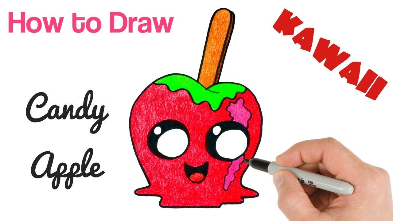 How To Draw Candy Apple Cute Kawaii Drawing For Halloween Kawaii Drawings Cute Kawaii Drawings Drawings