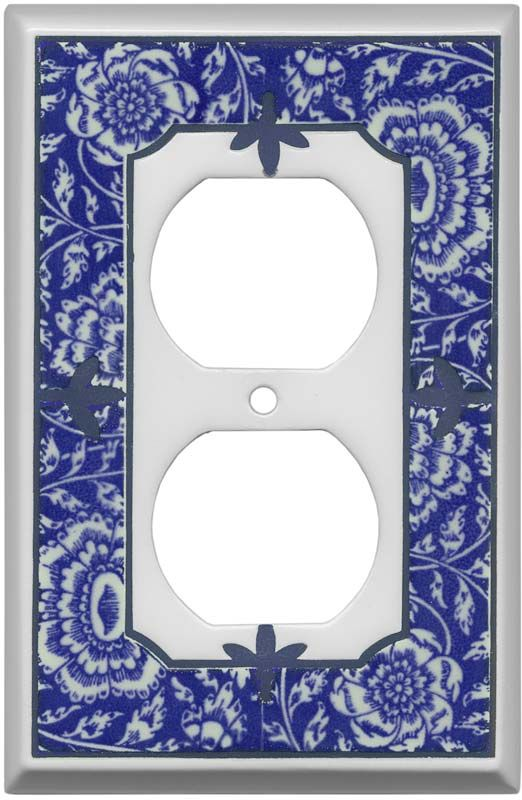 Blue Chinoiserie Ceramic Light Switch Plates Outlet Covers
