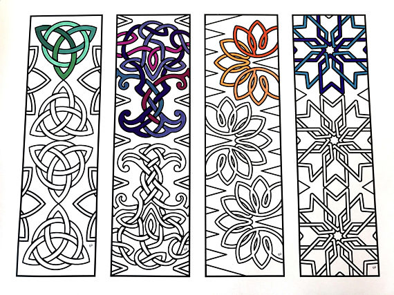 One 85x11 PDF Coloring Page Of 4 Bookmarks With Different Celtic Knot Designs Each Bookmark Is 2 Inches Wide And 7 Tall Simply Color The