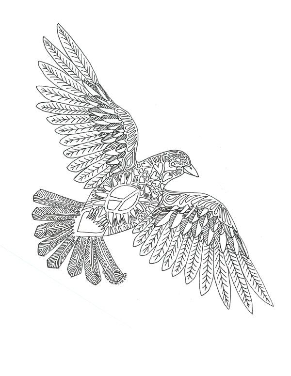 Printable Zen Critters Peace Dove Coloring Page Coloring For