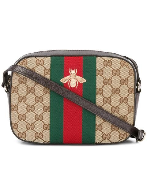 2b52cdfbdf17 GUCCI bee embroidered GG Supreme crossbody bag.  gucci  bags  shoulder bags   leather  crossbody  cotton