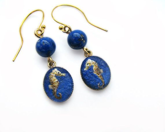Earrings with miniature painting of a seahorse by JeanneMelchels