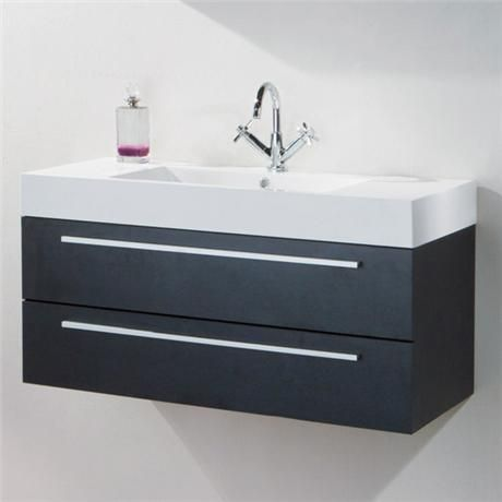 Relax Wall Mounted Basin & Cabinet - Black Wood Finish ...