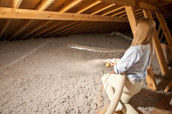 Loose-fill insulation is common and typically blown into the