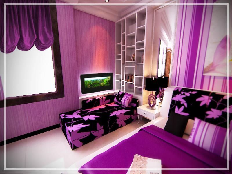 Hot pink and black room ideas impressive pink bedroom by ryosakazaq listed in pink and black - Purple and pink girls bedroom ...