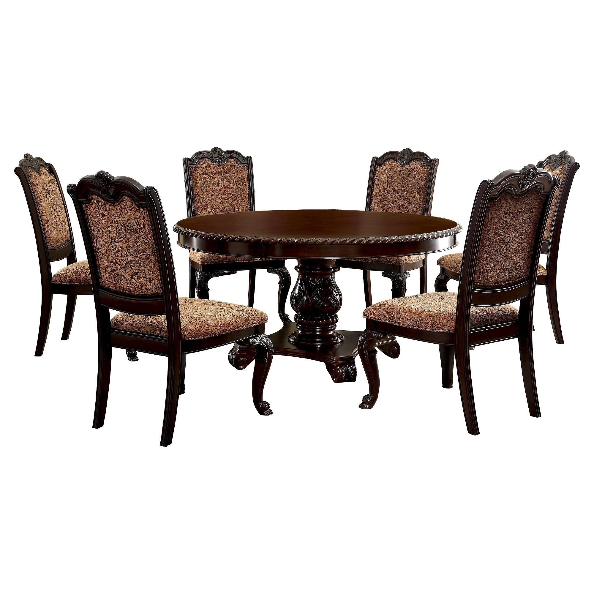 Sun u pine pc elegant fabric round dining set woodbrown cherry
