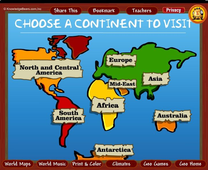 Httpkbearscontinentsml a really neat interactive world continents interactive world map for kids gumiabroncs Image collections