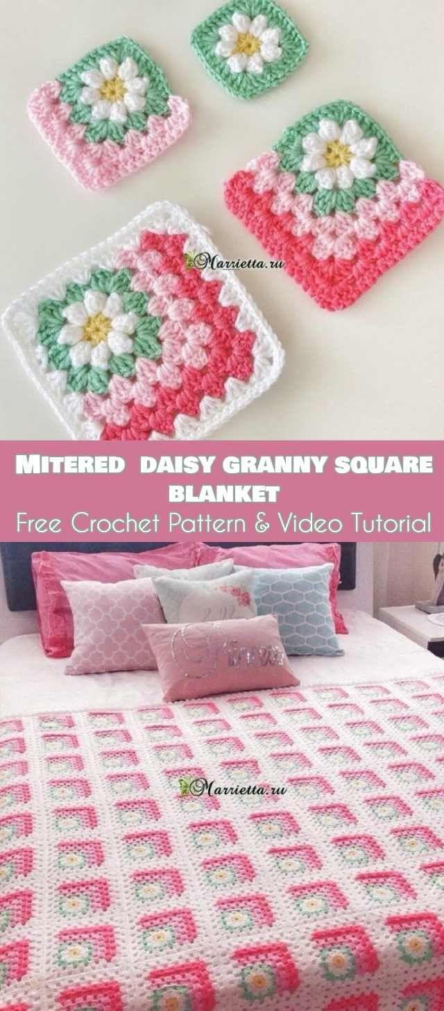 Mitered Daisy Granny Squares Blanket [Free Crochet Pattern & Video ...