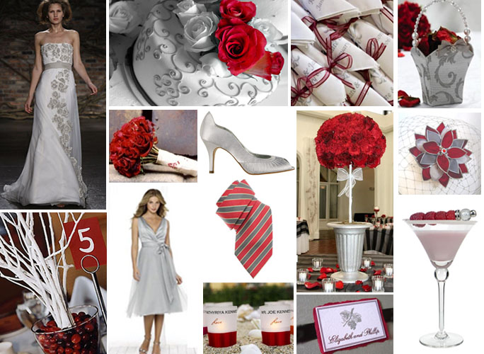 Grey And Red Wedding Colours