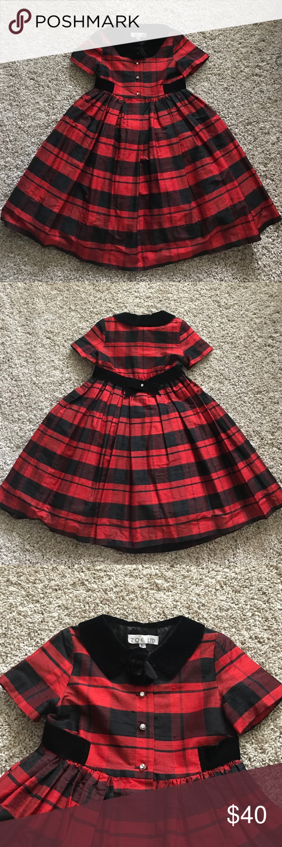 Adorable Red and Black Plaid Girls Dress Very cute girls dress.  This is an older dress and has some minor flaws but is in overall good condition. Well made, fully lined.  Please see pics for details. Dresses