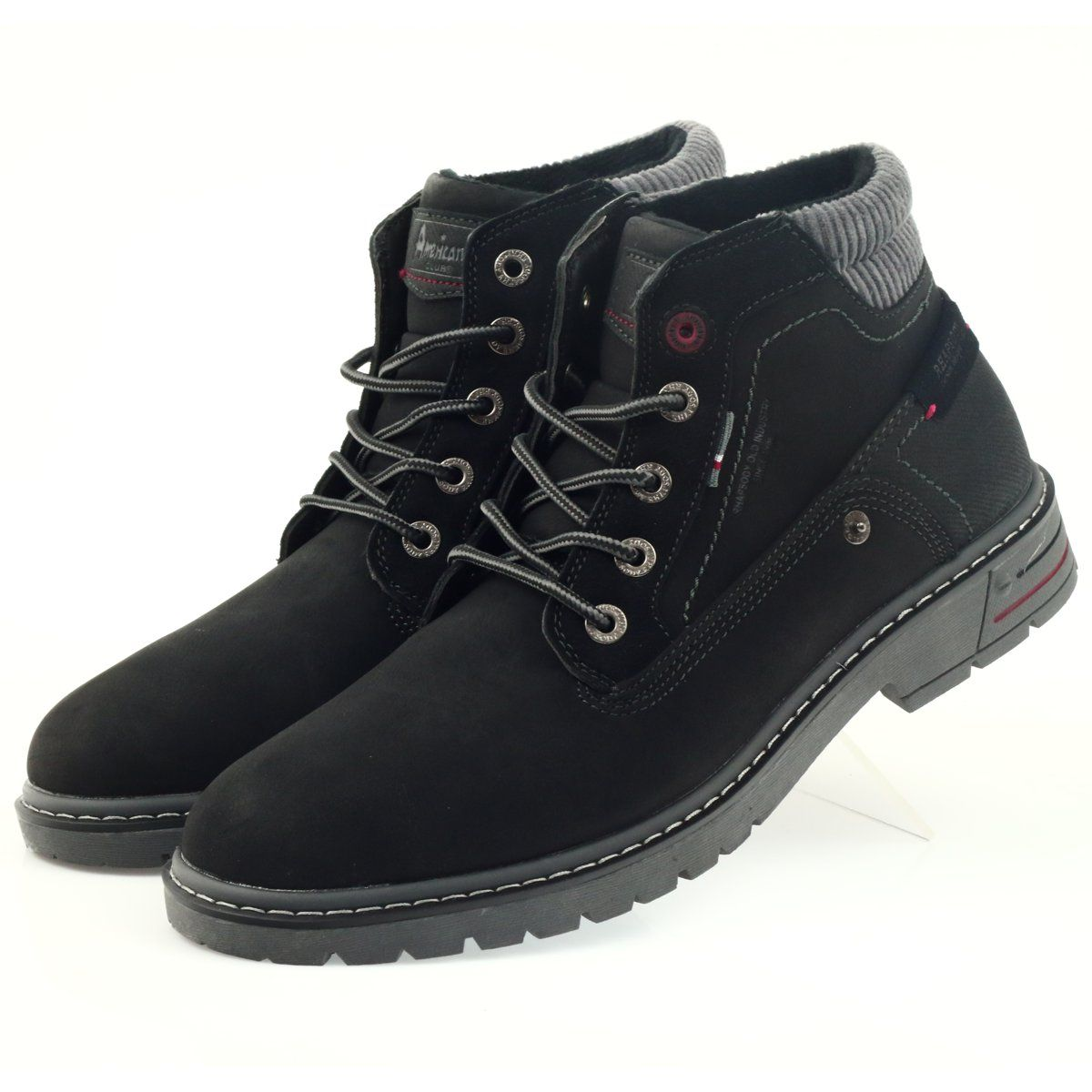 American Club American Trapery Buty Zimowe Trekkingi Czarne Boots Men Boots Trekking Shoes